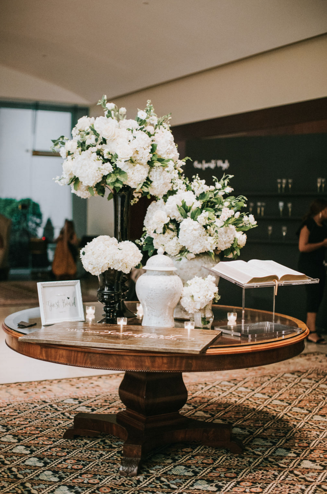 Modern White Wedding Reception | Downtown Dallas Wedding