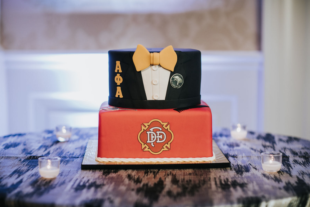 Custom Fraternity Grooms Cake | Modern Downtown Dallas Wedding