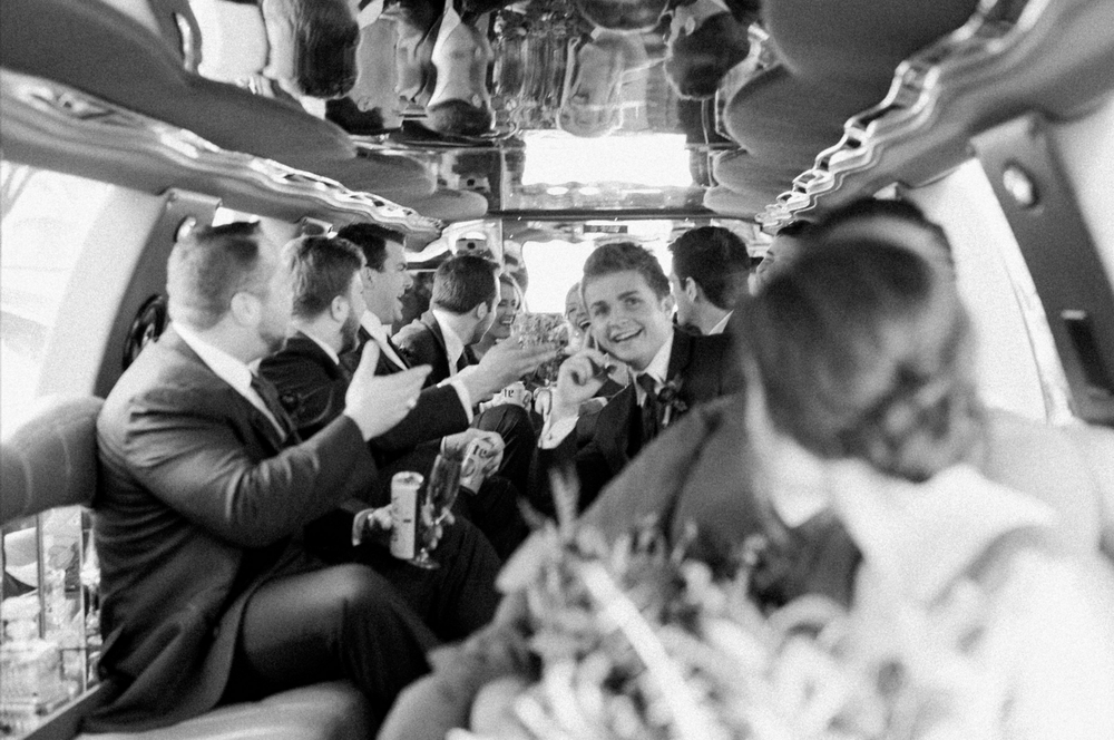 wedding party limo photography black and white