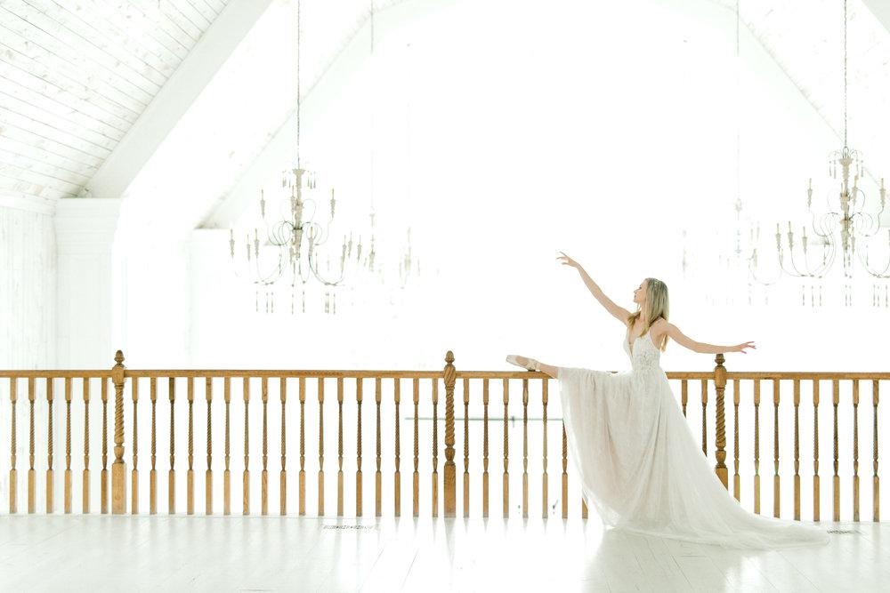 ballet inspired white barn wedding fine art wedding photography