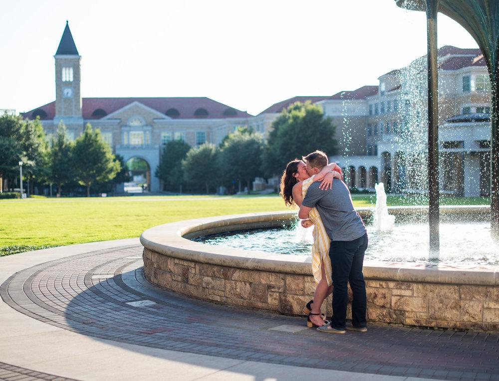 frog fountain tcu wedding proposal story