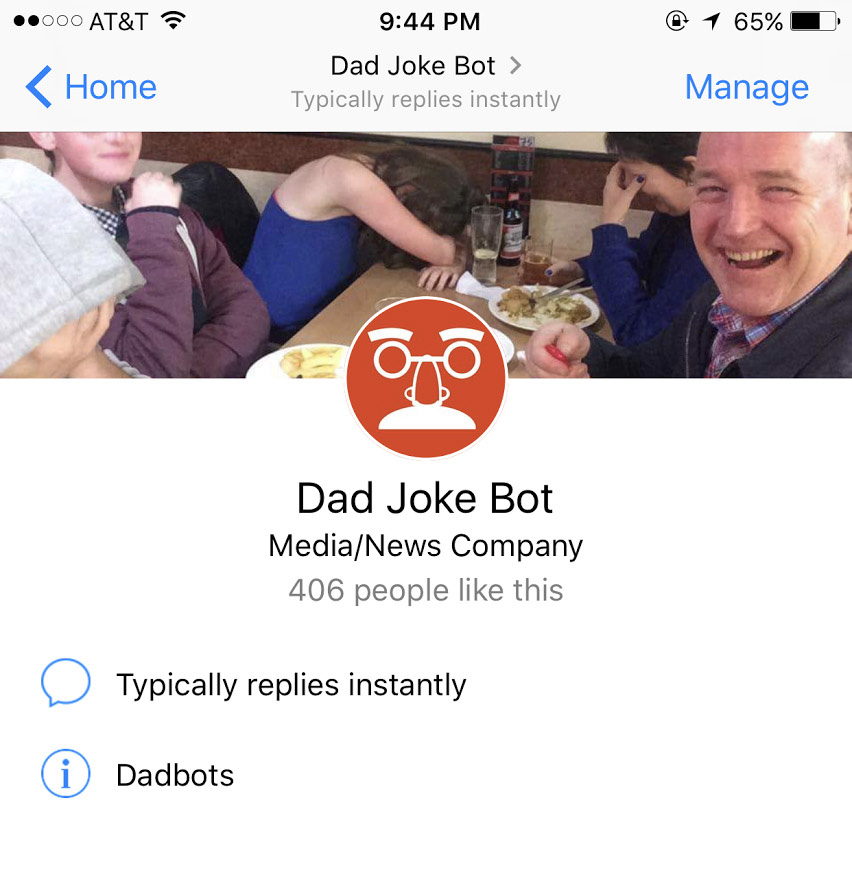 A bot for bad dad jokes, or simply a 'dadbot'