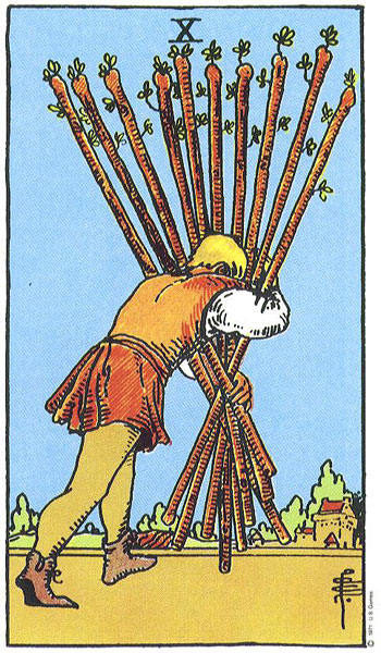The  Ten of Wands  in the Rider-Waite-Smith Tarot