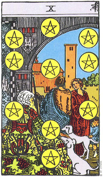 The  Ten of Coins  from the Rider-Waite-Smith Tarot