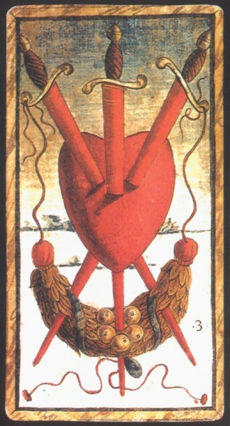 The  Three of Swords for the 15th century Sola-Busca Tarot, the first 78-card deck to feature unique imagery on each card.