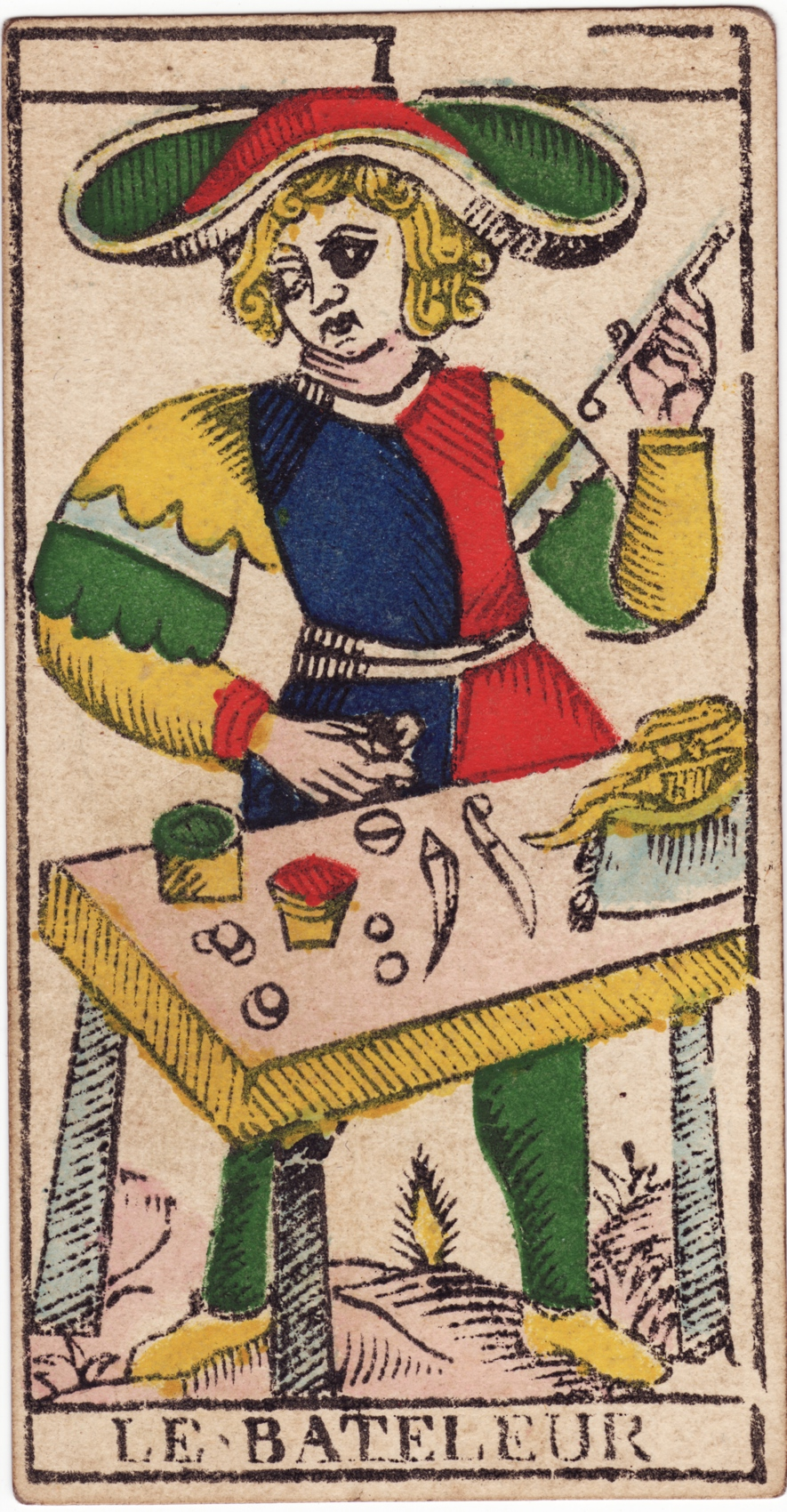 The  Magician  for the  Tarot de Marseille , an influential deck that may have originated as early as the 15th century.