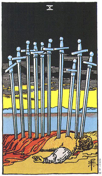 The Ten of Swords in the  Rider-Waite-Smith Tarot .