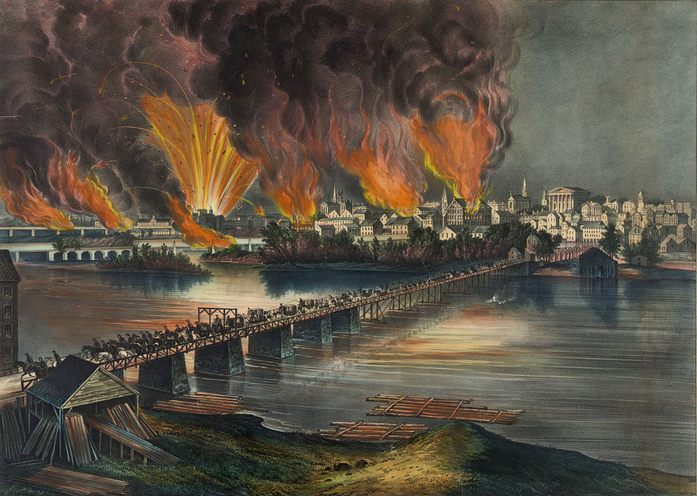 The burning of the Confederate capital in Richmond, Virginia, in 1865, a lithograph by Currier & Ives.