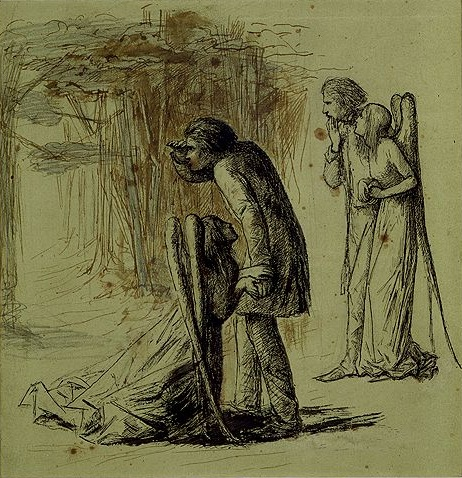 "Illustration of ""Ulalume"" by Dante Gabriel Rossetti, in which Psyche attempts to stop the speaker from following Venus Lucifer to his agony!"