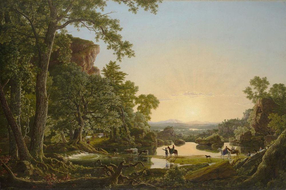 """Hooker and Company Journeying Through the Wilderness from Plymouth to Hartford, in 1636,"" by Frederic Edwin Church, 1846. Colonial founder Thomas Hooker was Pamela Colman Smith's 6x-great-grandfather."