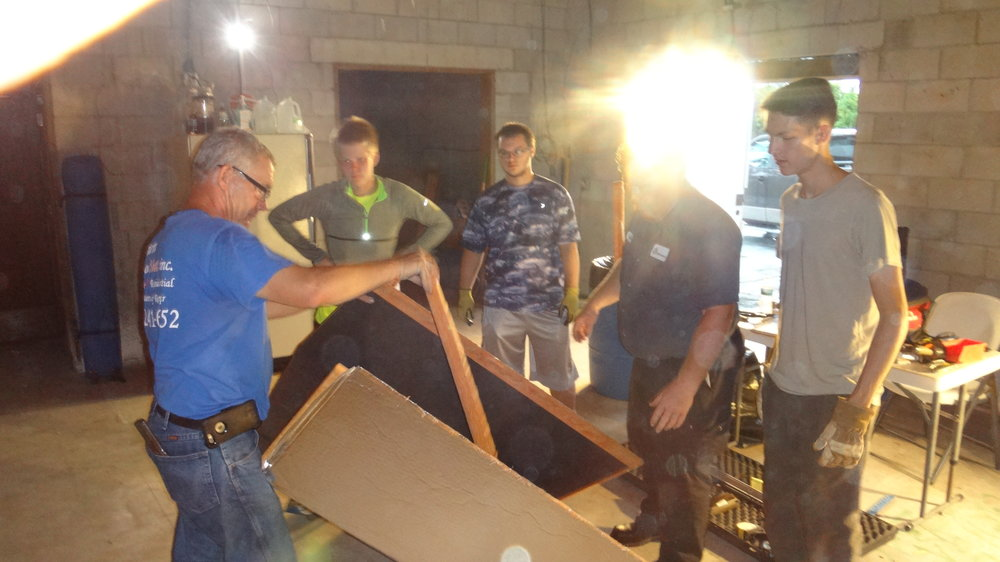 Duct Work Training - Mike Hilger, of Custom Air & Heat volunteered to teach Scouts the trade of creating custom ductwork.  Not only that, but he donated all needed materials for the job!