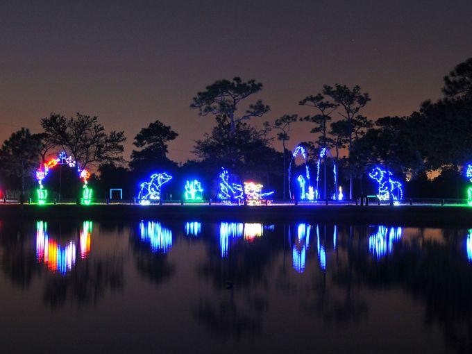 "The ""Space Coast Lightfest"" is a holiday themed drive-through event transforming Wickham Park into a virtual winter wonderland. This family oriented celebration features shimmering lights and animated displays and draws more than 15,000 vehicles annually."