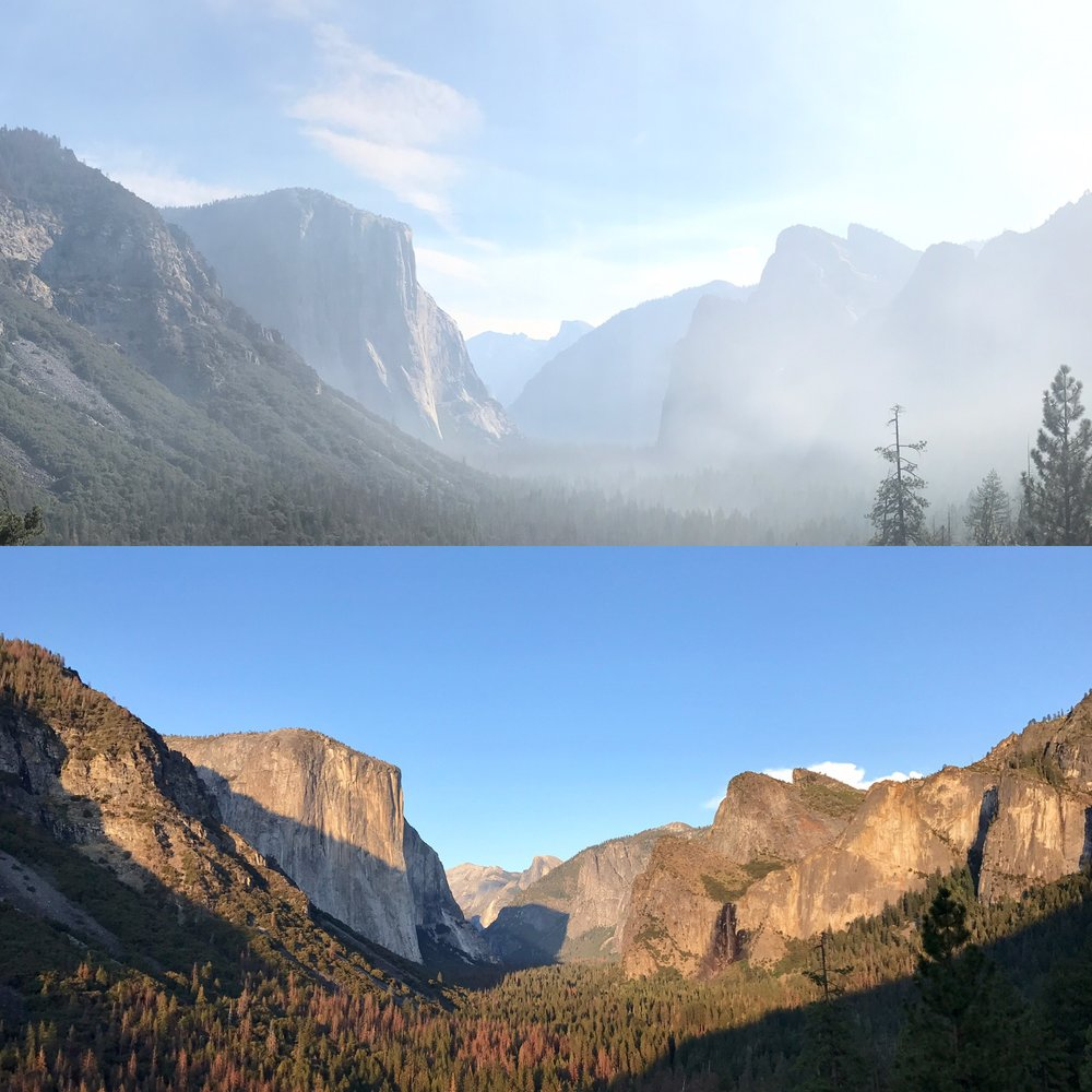 El Capitan and Half Dome at sunrise (blanketed in smoke) vs. clear afternoon