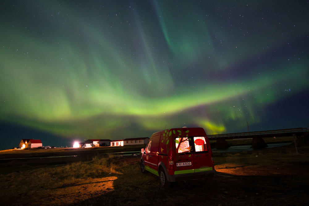 Our first night and Iceland left a light on for us...