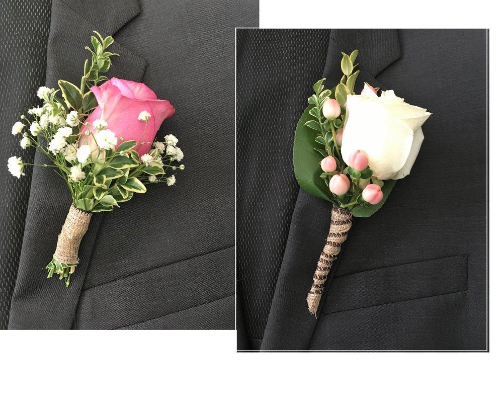 Élégante Boutonnière - Bien qu'issue de vieilles traditions d'élégance masculine,il est tout à fait sympathique et romantique de porter la fleurà la boutonnière!Corsage aussi disponible.À partir de 12.95$