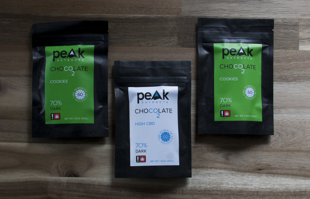 - Peak Extracts       Peak Extracts is a Portland, Oregon based cannabis processing company. They manufacture essential oil from locally grown cannabis, using carbon dioxide extraction, a safe, environmentally-friendly process. With that essential oil, they make beautiful dark chocolates and Rescue Rub, our topical lotion.