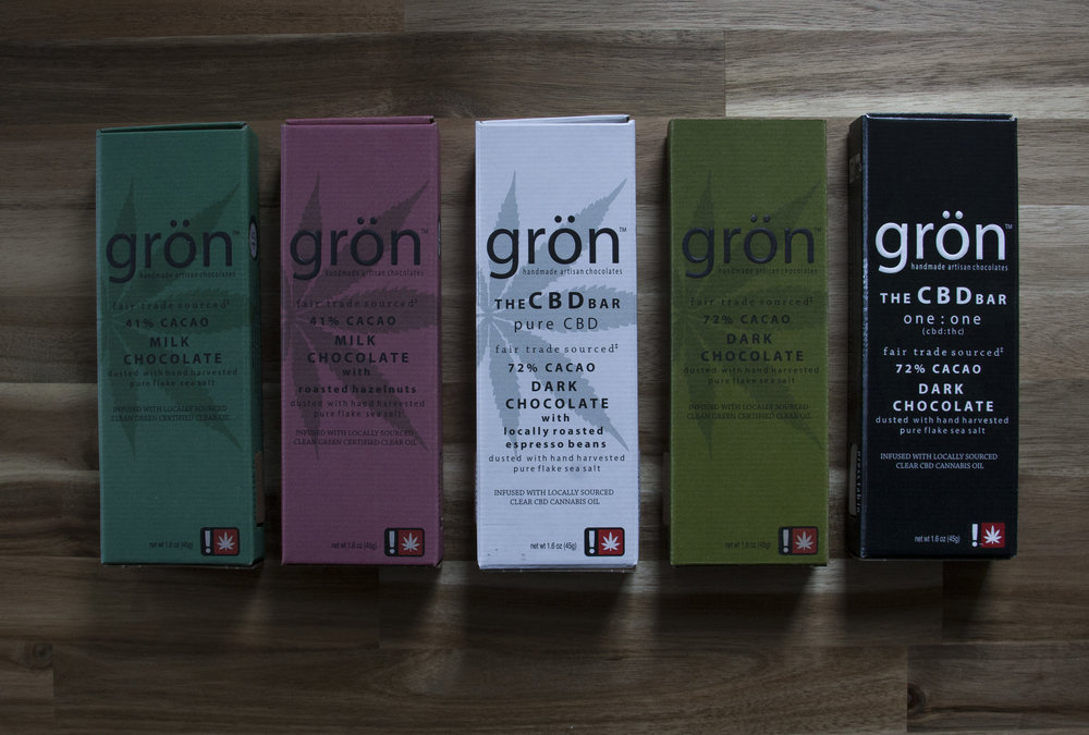 - Gron Chocolates          In 2014, a simple, yet remarkable concept took root in Portland, Oregon.  The creation of handcrafted, gourmet cannabis chocolates. Chocolates that would not only taste exquisite, but would look as fabulous as they taste and would provide customers with consistent high quality products.  Gron is dedicated to developing innovative ways for people to consume cannabis which nurture, enhance and improve lives.  At Gron we pair decadent, high-quality, fair trade chocolate with a fully activated cannabis extract then hand-decorate each piece with intricate care.