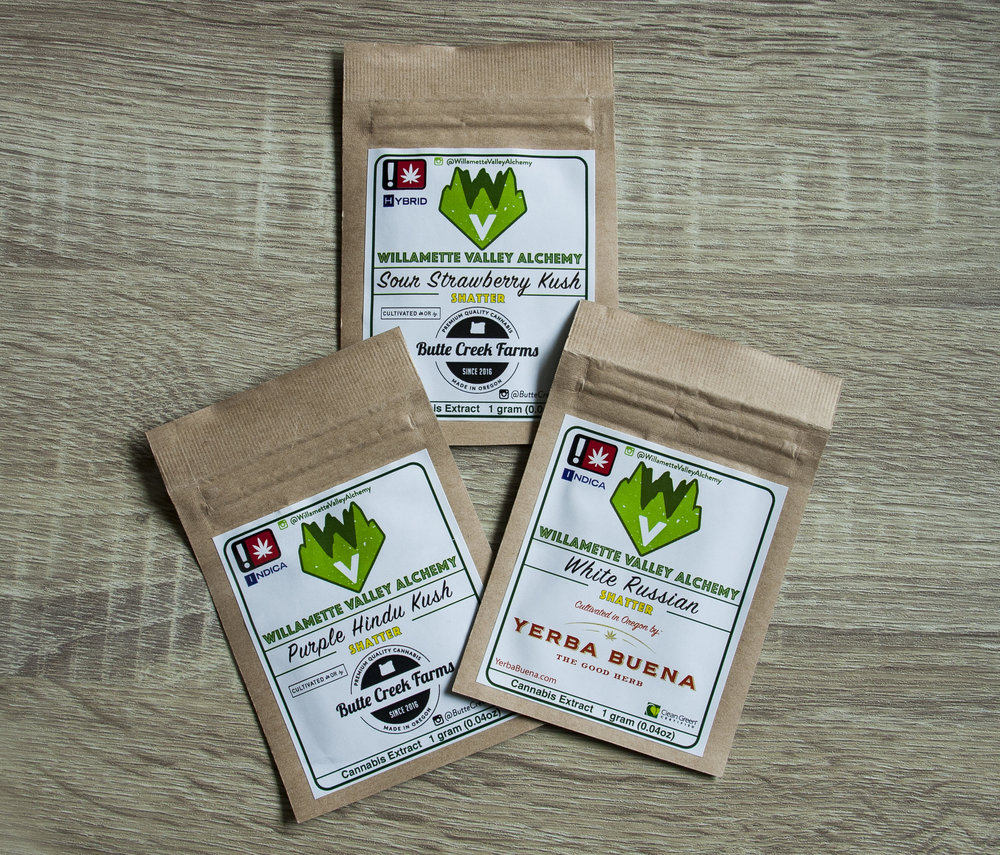- Willamette Valley Alchemy  Willamette Valley Alchemy specializes in hydrocarbon-based cannabis extractions using custom solvent blends creating truly unique extracts. Extracts are potent, ranging from 65-95% cannabinoids and are best vaporized. Our highly-skilled, botanical extraction team focuses on terpene preservation, stability, and cleanliness making our extracts the choice option for any craft-cannabis connoisseur. From Live-Resin to Shatter, our extracts are made with the highest-grade cannabis sourced locally and grown in and around the world renowned Willamette Valley. Our laboratory is fitted with domestically made, top-of-the-line equipment ensuring the product's highest quality from start to finish. Treat yourself and look for Willamette Valley Alchemy extracts in a dispensary near you!