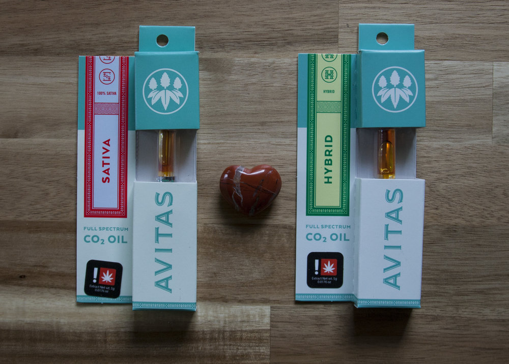 "- Avitas       Our single strain CO2 oils are small batch crafted, 100% natural, full spectrum extracts using food-grade liquid CO2. We maintain a high level of clarity and purity in every batch we produce. We de-wax our oils (a process called ""winterization"") to ensure the healthiest oils and a clean pure vaporizing experience. We utilize a full spectrum technique to ensure we capture all the natural cannabinoids and terpenes in each strain to pull out the unique characteristics of the strain. We never use any additives, cutting agents, flavorings or colorings."