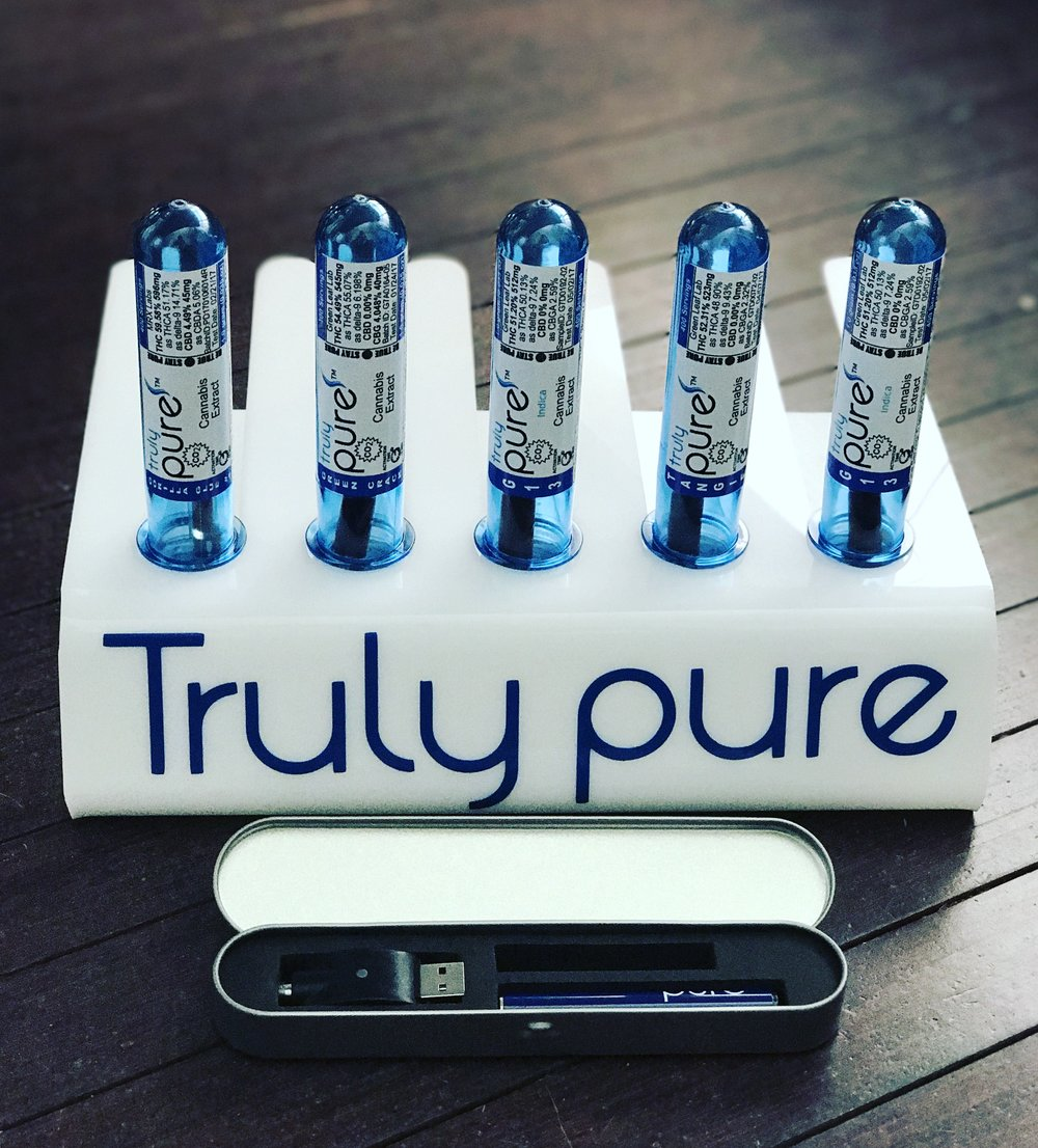 Truly Pure  -        Truly pure uses a Water Bio-Botanical Extraction System which is a multi-vessel super critical fluid extraction system.  They then enhance the oil with natural steam distilled terpenes of lemons, limes, tangerines and grapefruits.