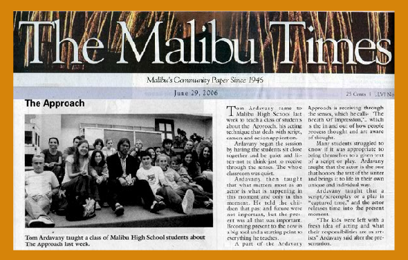 Teaching a workshop at Malibu High.