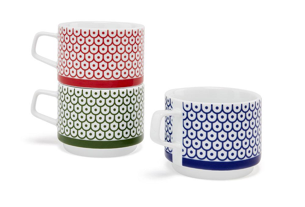 Shield and Dot  Stacking Mugs   Set of 3, porcelain, each mug 2½ x 3¼ in., boxed set