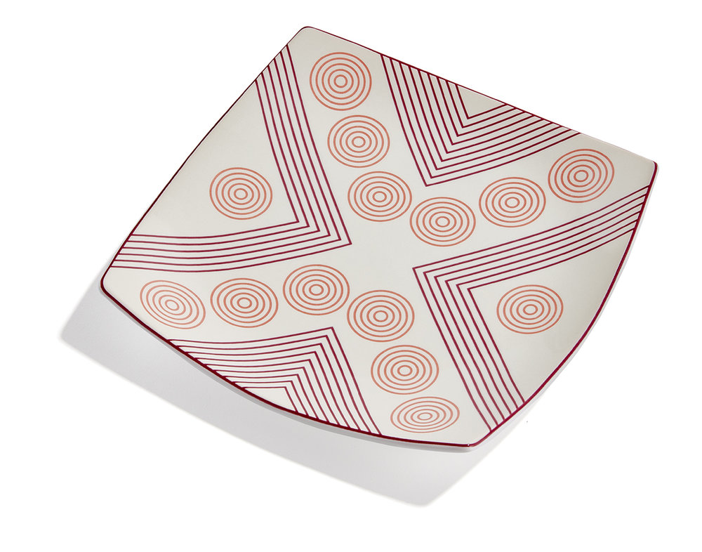 Arrows and Circles  Plate   Ceramic, 5½ x 5½ in.