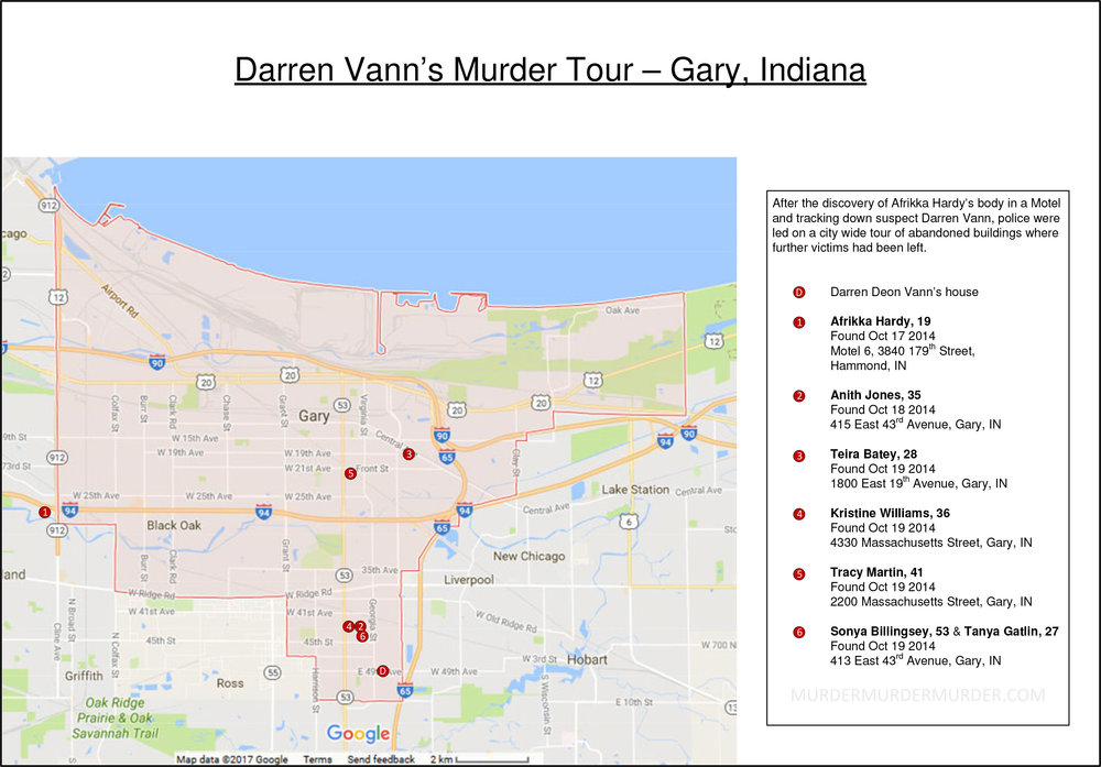 Map of gary indiana united states showing darren deon vann victim locations