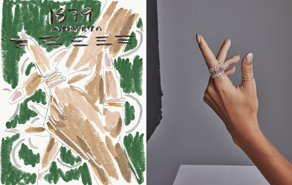 The  sketch (left) for the Birks Iconic concept and the original photo pre-collage (right)