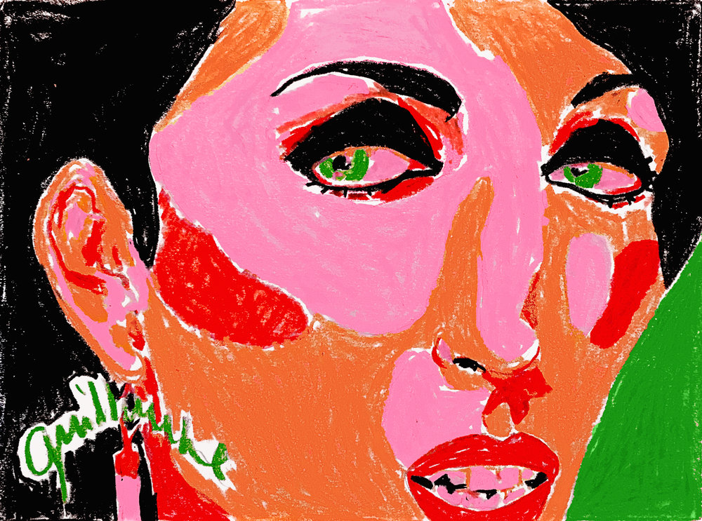 Ugly Beautiful,  Rossy de Palma (Almodovar's muse) — Pastel on paper