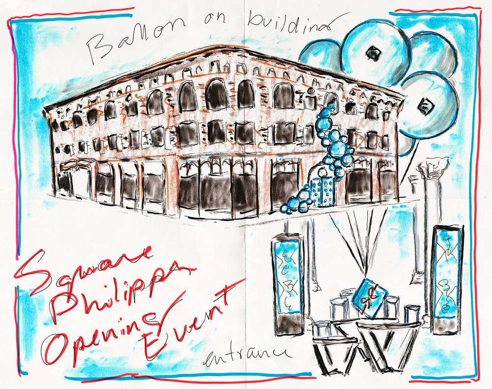 Concept sketch of the activation for the Grand Opening of Maison Birks flagship store in Downtown Montreal.