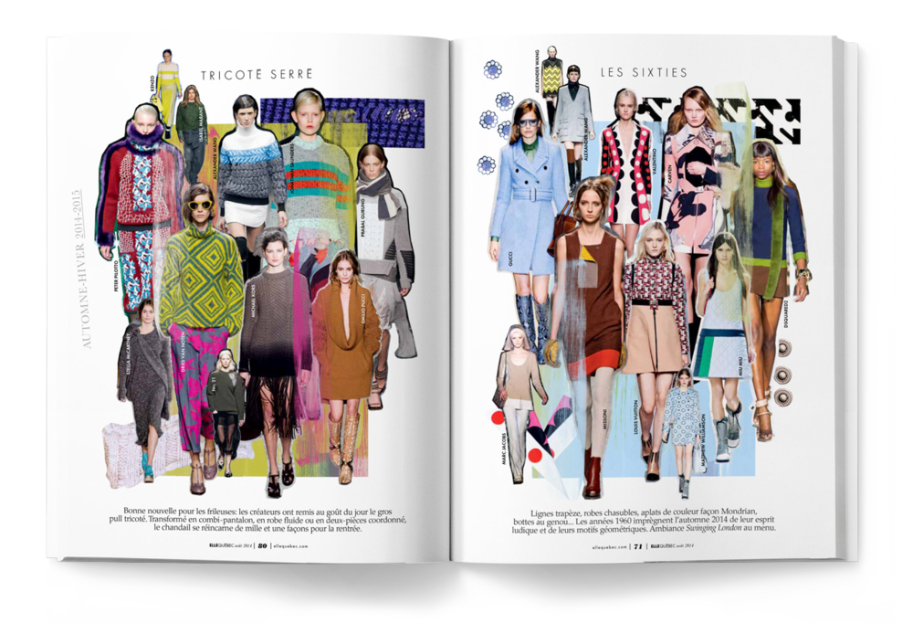ELLE Québec Magazine; Fashion collage illustration and editorial design by Toronto/Montreal based creative directior / art director Guillaume Brière