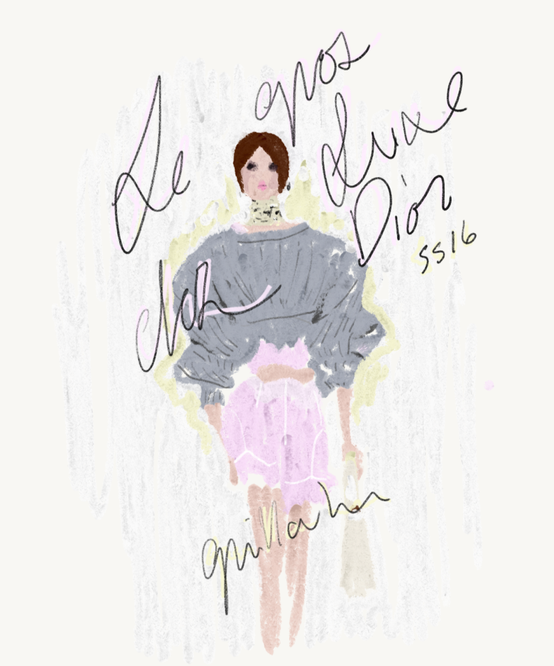 Le gros luxe,  The essence of Dior Spring/Summer 2016 — Pastel and marker on paper