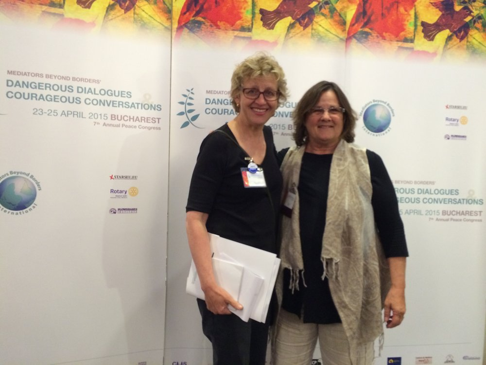 CCS was selected to present a workshop on our use of Restorative Circles With Youth at the 2015 Mediators Beyond Borders Conference in Bucharest, Romania.  On right, School Program Director Carrie Nardie, M.S.W. with CCS Board Member Mary Hellwig.
