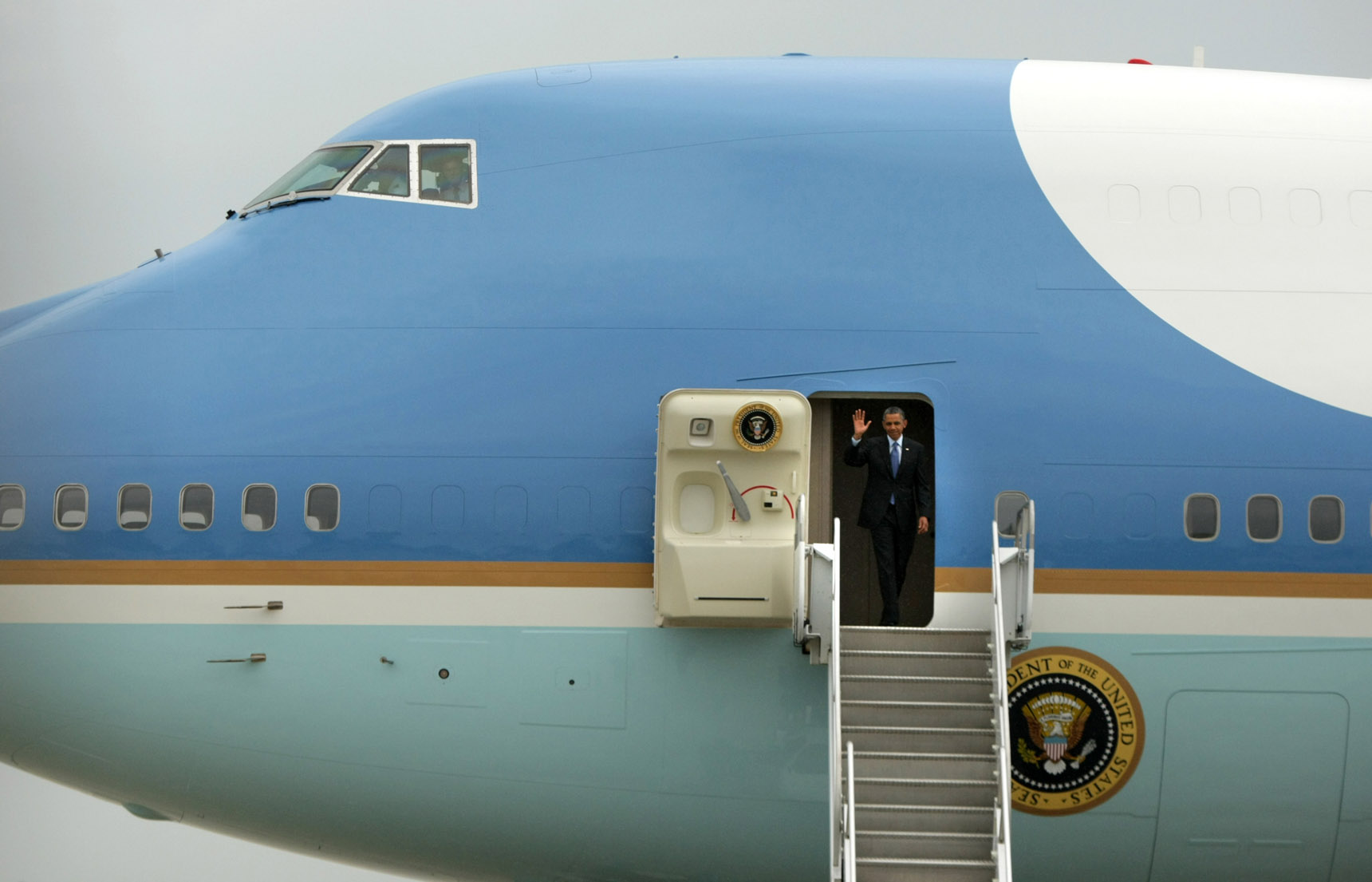 Air Force One lands at McGuire Air Force Base