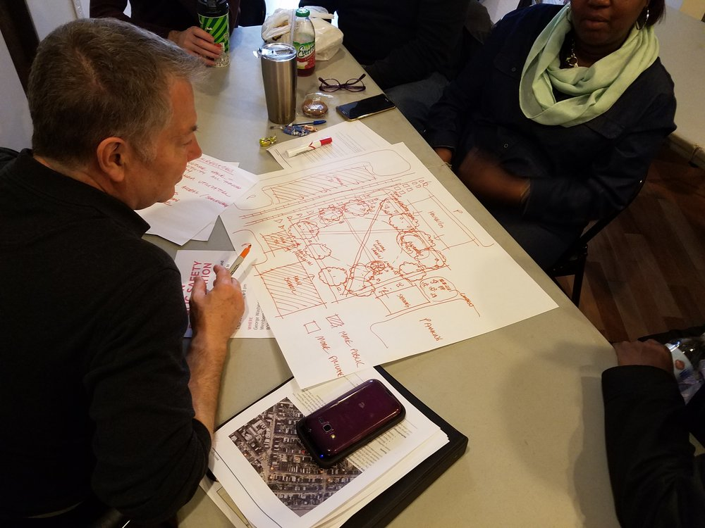SafeGrowth teams take part in a design charette activity at a SafeGrowth training in Baltimore's Pigtown neighborhood.