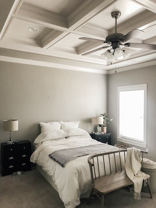 Our master bedroom is unlike anything we have ever had. The traced ceiling makes my heart skip a little beat. We envision a beautiful head board, new nightstands, and wall scones to add some coziness to the room.