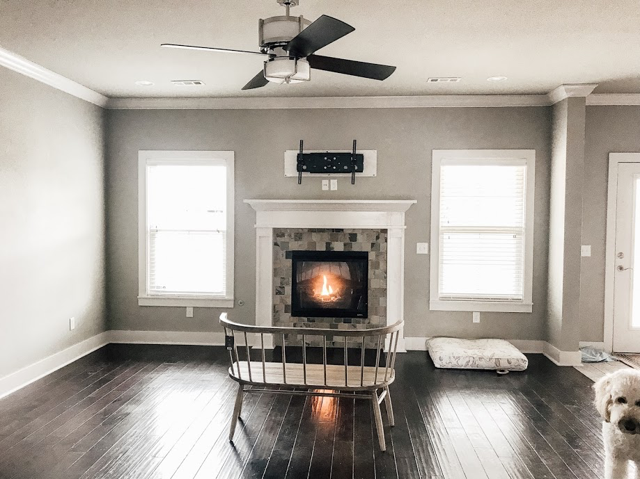 We have major vision for our main family room. We love the gas fireplace and we are looking forward to a cozy seating area that will be perfect for both TV and non-TV days.