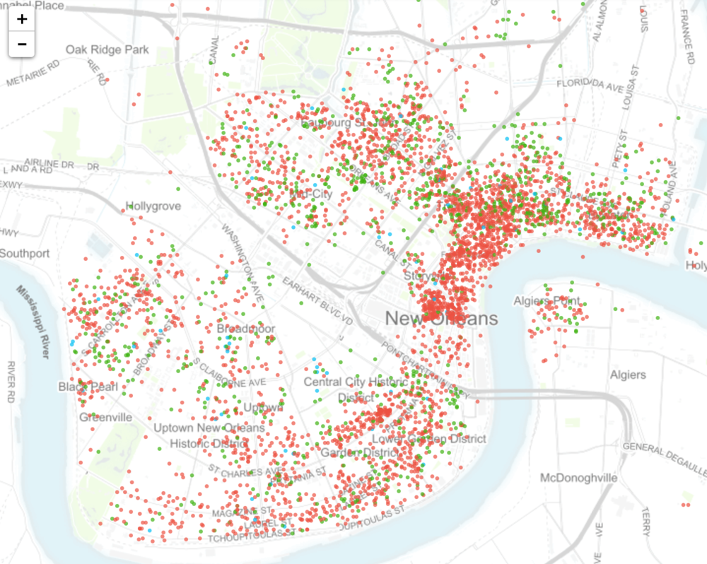 After April 1, 2017,it's legal to rent homes in New Orleans via Airbnb, VRBO and similar services (per recent City Council ordinance). Up until now, short term rentals were illegal in the city, but were impossible to regulate. Under the new ordinance, STR's remain illegal in the French Quarter. This map shows the plethora of AirBnBs that are currently operating illegally in the French Quarter (solid red), and the rest of the city. Source: insideairbnb.com