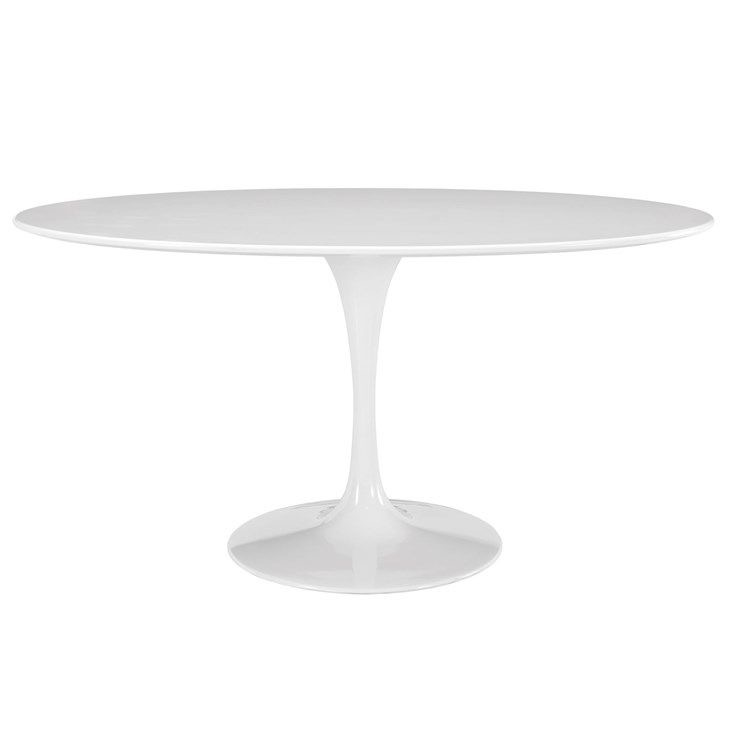 60 inch Lex Mod Lippa Oval Wood Top Dining Table in White $591.75