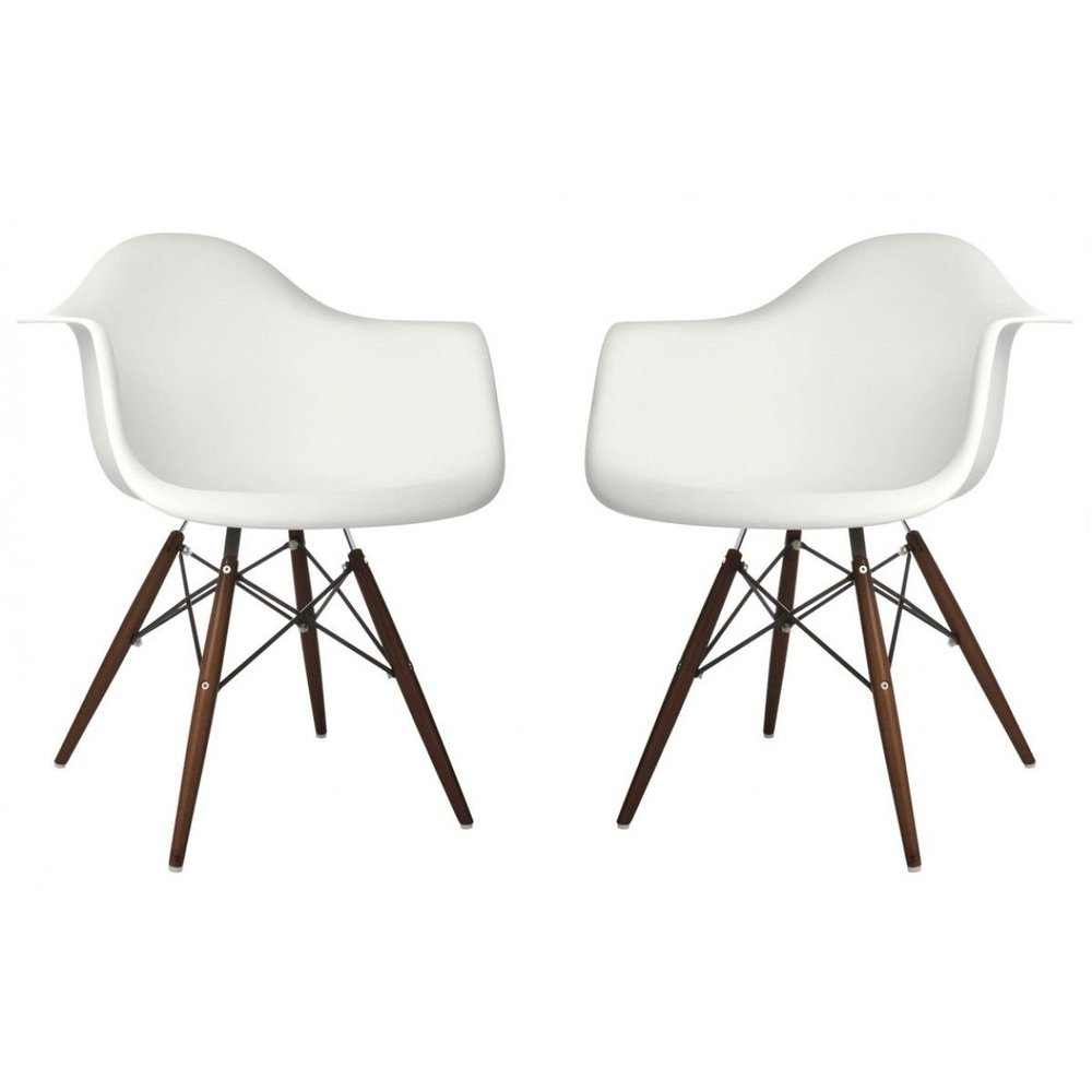 Eames Style DSW Molded White Plastic Dining Shell Chairs with Dark Walnut Wood Eiffel Legs, TWO for $158