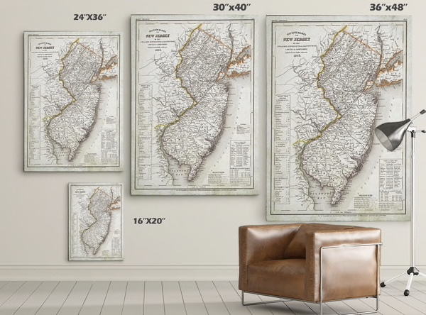 Antique Map, New Jersey, Overstock 30x40 $11.99