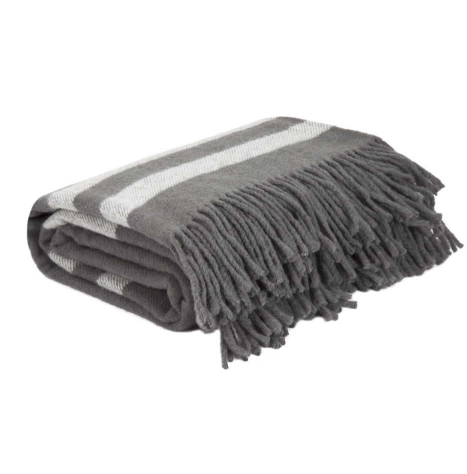 Gray and White Fringe Throw Blanket, $57.99 from Wayfair