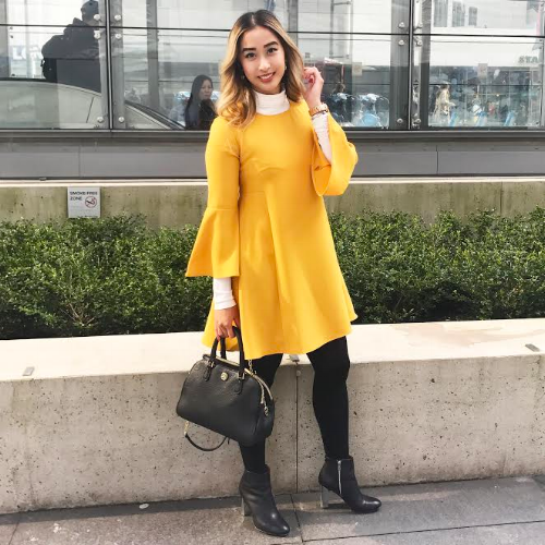 All about bright statement pieces, Debbie is wearing: Turtleneck // H&M, Dress // Ever New, Bag // Tory Burch, Shoes // Calvin Klein