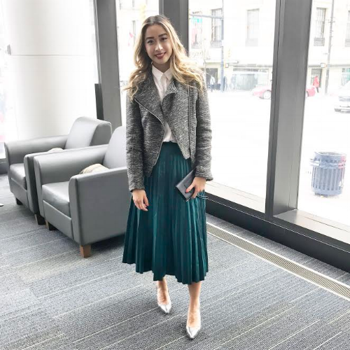 Debbie incorporates TD's signature green into her personal style: Shirt // Sunday Best via Aritzia, Shirt // Skirt // Oak + Fort, Shoes // Vince Camuto, Jacket // H&M
