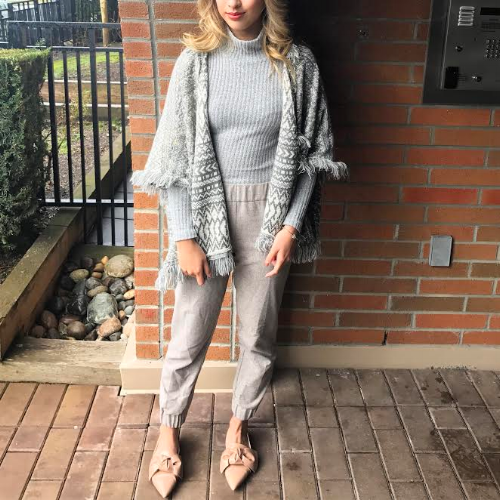 Style guru Debbie recommends picking timeless pieces at sales. Turtleneck & Jogger Pants // Wilfred via Aritzia, Shawl Poncho // Anthropologie, Shoes//Zara