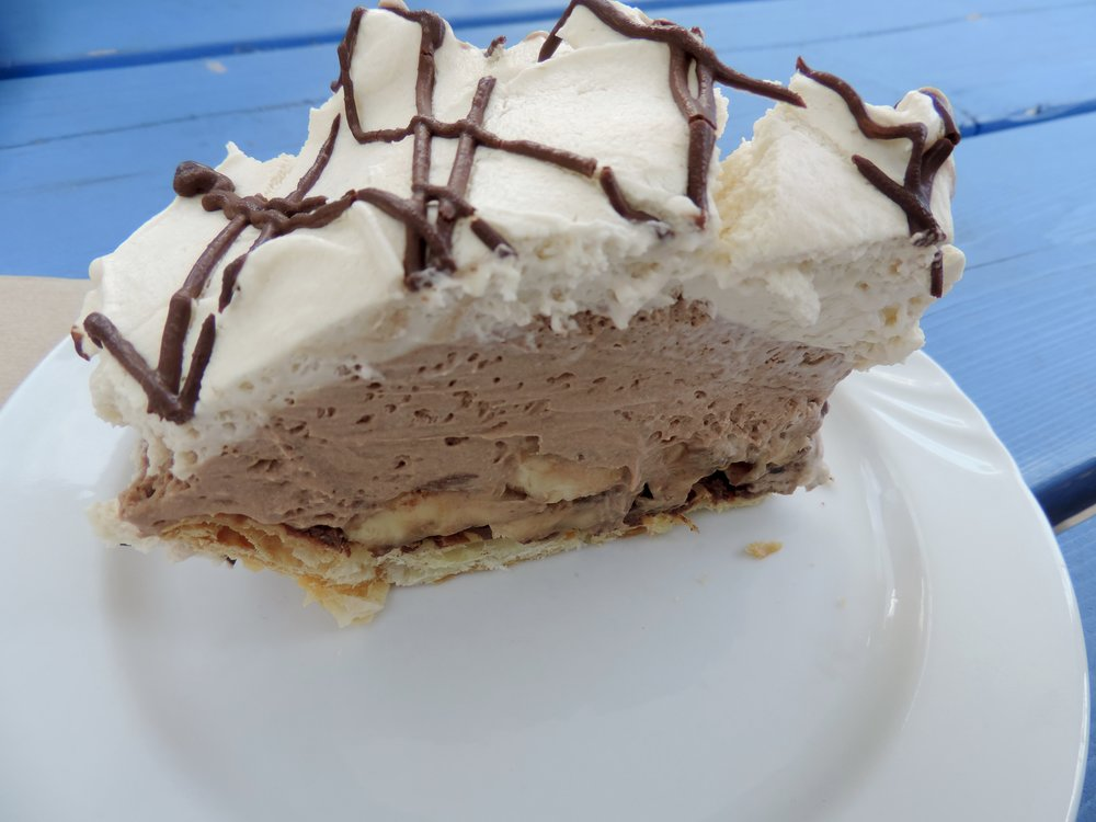 Chocolate banana cream pie, $12.50