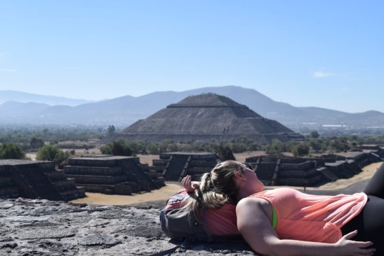 Lounging atop the Pyramid of the Moon in Teotihuacan.