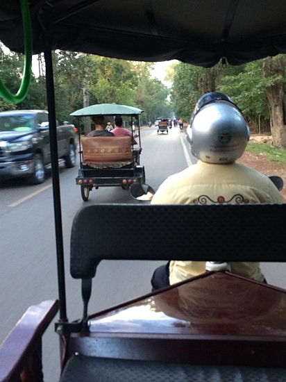 Tuk tuk ride to Angkor Wat.