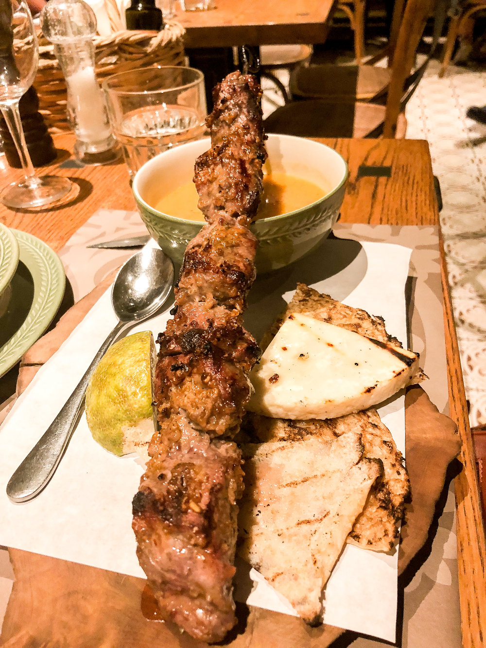 My dinner of lamb on a skewer with rustic pita and a blended vegetable soup. I was dipping the meat in the soup like Michael Scott dips meat in wine!